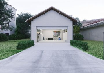 a beautiful garage with concrete driveway at Toowoomba Pavers