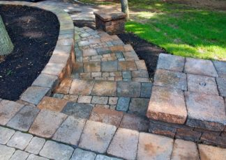travertine pavers installed in a garden at Toowoomba Pavers